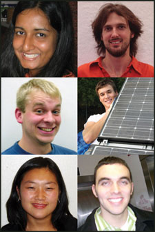 Clockwise from top left: Rifat Jafreen, Matthew Caplins, Jacob Cigna, Tony Giampapa, Dan Feng and Tyler Sines.