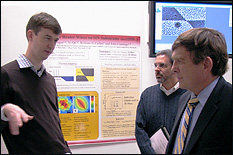 MSE Assistant Professor John Cumings (left) discusses the NISPLab's capabilities with Associate Vice President for Research Development Ken Gertz (center) and Vice President for Research Mel Bernstein (right).
