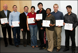 Dan Janiak (second from left), Professor Peter Kofinas (third from left) and Angela Fu (fourth from left) at the announcement of the $50K Business Plan Competition finalists.
