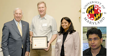 From left to right: University of Maryland President C.D. Mote, Prof. Steven Anlage, and OTC Director Gayatri Varma; also, pictured separately, ECE alumnus Sameer Hemmady.