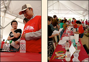 Left: Students demonstrate a fuel cell. Right: ChBE activities tables.