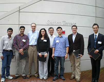 ECE Distinguished Teaching Assistants, from left to right: Kapil Anand, N. Prasanth Anthapadmanabhan, Prof. Andre Tits, Anna Pantelidou, Prof. Kazuo Nakajima, John Shiu, Chris Stanford, Shilin Zhu. Photo by Melanie Miller.