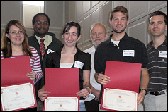 Recipients of the 2008 Distinguished Graduate Teaching Assistant Award are Lina Maria Castano, Sonia Hernandez-Doran, and Scott Owen. They were recommended by Dr. Darryll J. Pines, Dr. Allen Winkellman, and Dr. Derek Paley.