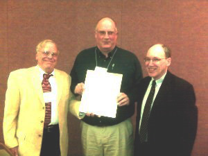 William J. Wright, Ph.D., P.E. (center) accepts the 2008 Richard S. Fountain Award from AASHTO-T14 Committee Chairman Ed Wasserman (left) and Dennis R. Mertz, Professor of Civil Engineering at the University of Delaware.  Dr. Wright was recognized for his outstanding contributions to the steel bridge industry.   Photo credit: Dan Snyder, AISI