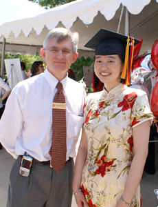 ECE Department Chair Dr. Patrick O'Shea (left) with Clark School Commencement Student Speaker Ermin Wei (right), an ECE graduating senior and triple major. Photo by Jess Molina.