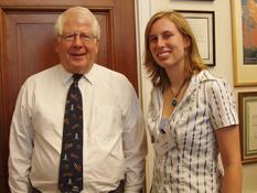Clark School Ambassador and aerospace engineering junior Laura Meyer with Rep. David Price (D-N.C.)