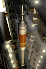 An artist's rendition of Ares I being stacked in the vehicle assembly building at NASA's Kennedy Space Center in Florida. Image credit: NASA