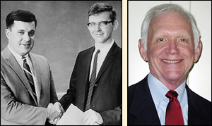 Left: Derryl York (right) receiving the David Arthur Berman Memorial Award from Department of Chemical Engineering Chair Joe Marchello (left) in May, 1966. He still has the certificate hanging in his home. Right: Dr. York today.