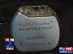 The AngelMed Guardian, as shown in the FOX News segment. The device is about the size of a pacemaker.