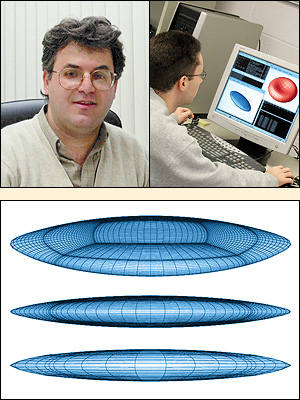 Above: Professor Panos Dimitrakopoulos (left) and his graduate student Walter Dodson (right) investigate the dynamics of artificial capsules and erythrocytes in flow enviroments. Below: Capsules in strong extensional flows develop steady-state shapes whose edges form spindled (or concave) become cusped with increasing flow rate so that they are able to withstand the increased hydrodynamic forces.