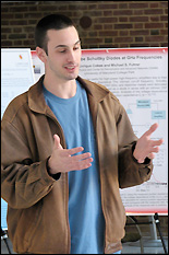 Graduate student Chris Long presenting his work at the 2009 ResearchFest.