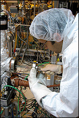 Banerjee at work in the Laboratory for Advanced Materials Processing.