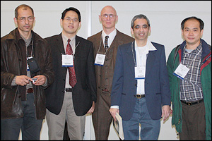 Chuan-Fu Lin (second from left) at the APS March Meeting in Pittsburgh. Also pictured are (left to right) Ajmi Hammouda, Ray Phaneuf, Sanjay Khare and Hung-Chih Kan, all collaborators in the NSF-supported work on