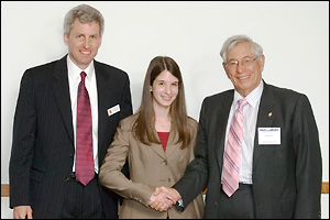The announcement of the 2009 Fischell Fellow at the third annual Fischell Festival. Left to right: Professor and Chair William Bentley, Deborah Sweet (B.S. '06), and Dr. Robert E. Fischell (M.S. '53, physics). (Photo by Luisa DiPietro.)