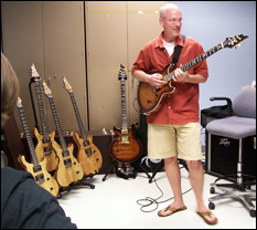 Prof. Bruce Jacob with one of the Coil LLC guitars.