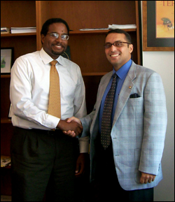 Clark School Dean Darryll Pines (L) and Dr. Ahmed Sultan of Alexandria University.
