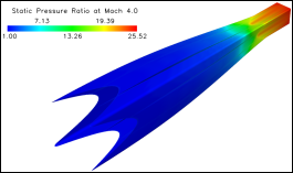 The above image shows a map of pressure on the internal surface of a conceptual Mach 6.0 Busemann inlet generated by Ramasubramanian.