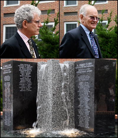Bill Levine (L) and Tom McAvoy (R) at the ceremony. Below: the Faculty and Staff Commitment Award fountain outside the Glenn L. Martin Building.