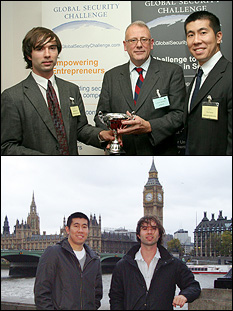 Above: Matthew Dowling (left); Dr. Alastair MacWillson, Managing Director of Global Security Practice, Accenture (center); and Peter Thomas (right). Below: Peter Thomas (left) and Matthew Dowling (right) in London.