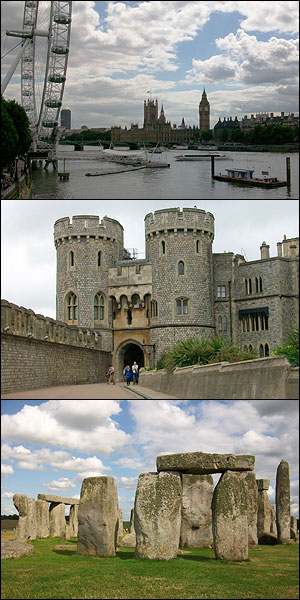 Top: View of London. Middle: Windsor Castle. Bottom: Stonehenge. Photos courtesy of Joseph Lim.