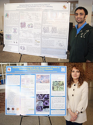 Pushkar Pendse (top) and Laleh Emdadi (below) with their winning posters.