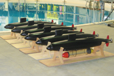 The autonomous submarines at the Neutral Buoyancy Research Facility.