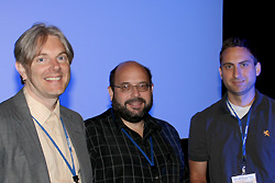 Chris Metting receives 2nd prize at the ACNS student poster competition. Left to right: Professor Simon Billinge (Columbia University), Vice President of the Neutron Scattering Society of America; Dr. Ken Herwig (Oak Ridge National Lab), chair of the prize selection committee; and MSE graduate student Chris Metting.
