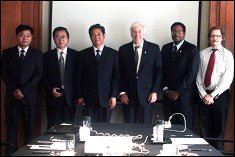 From left to right: Mr. Sun, general manager of Suzhou High Speed Railway Company; Mr. Wang, president of Suzhou High Speed Railway Company; Mr. Jiang, vice-mayor of Suzhou Xiangcheng District; Pres. Mote; Dean Pines; and Dr. Michael Pecht, director of CALCE.