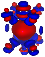 3D charge redistribution around the oxygen vacancy in BSCF perovskite with respect to neutral O atom. Blue and red isosurfaces (0.0025e/A3) correspond to excess and deficiency of the electron density, respectively. Oxygen vacancy (center) is surrounded by two B-metals - Co (top) and Fe (bottom), as well as four oxygen atoms from both sides.