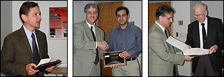 Winners of the 2005 ISR outstanding awards (l-r): Ray Adomaitis, faculty; Nima Mesgarani, graduate student; Frank Briggs, staff. ISR director Eyad Abed presented the awards.