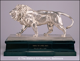 Antoine-Louis Barye, Walking Lion; Striding Lion (Racing Trophy), 1865, silver on marble plinth, 19 1/2 x 26 3/4 x 8 3/4 in., The Walters Art Museum, Baltimore. This sculpture, whose detailed surface makes it difficult to protect from tarnish, would be a prime candidate to receive a new, nanometers-thick coating being developed by materials scientists and conservators at the Walters Art Museum and the A. James Clark School of Engineering at the University of Maryland. Image courtesy of the Walters Art Museum.