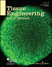 Professor John Fisher and graduate student Andrew Yeatts' research on the cover of Tissue Engineering Part C: Methods. The image shows a fluorescing live/dead image of human mesenchymal stem cells cultured in an alginate bead that forms part of a new bioreactor used to grow replacement bone and tissue.