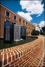 This fountain on the plaza in front of Martin Hall lists the names of former commitment award honorees.