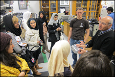 Students visiting Professor Amr Baz's laboratory