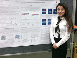 Department of Chemical and Biomolecular Engineering sophomore Diana Villanueva with her poster at the ACC Meeting of the Minds Conference.