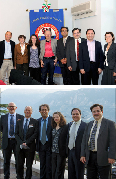 Photos from the May 2011 meeting in the Autonomous Province of Trento      Top photo, left to right: Mariano Anderle, Autonomous Province of Trento Director of International Relations; Carla Locatelli, University of Trento Vice Rector for International Studies and Research; Pamela Abshire, ISR Professor; Davide Bassi, University of Trento Rector; Reza Ghodssi, ISR Director and Professor; Jeff Coriale, ISR Director of External Relations; Peter Kofinas, UMD Professor; Laura Paternoster, University of Trento Head, International Cooperation and Mobility Division     Bottom photo, left to right: Alberto Lui, Autonomous Province of Trento International Relations Department; Mariano Anderle; Reza Ghodssi; Pamela Abshire; Peter Kofinas; Jeff Coriale