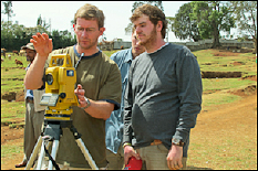 David Lovell (left) works with undergraduate students on an Engineers Without Borders project.