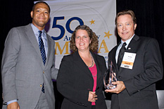 Pictured at the awards ceremony, left to right: Gordon Knox, Miles & Stockbridge; Laurie Boyer, CEcD, President of MEDA; MIPS' Ronnie Gist.