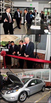 Top: UMERC director Eric Wachsman (far left) gives a tour of the new facilities. Middle: The ribbon-cutting. Left to right: Clark School dean Darryll Pines, director of ARPA-E Arun Majumdar, Wachsman, and UMD past president C.D. (Dan) Mote, Jr. Bottom: The plug-in hybrid electric Chevy Volt at one of the university's charging stations. Photos by Alan P. Santos.