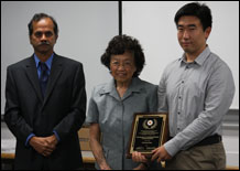 From left to right, Dr. Rama Chellappa, Mrs. Anchen Lin, and scholarship recipient Faheng Zang