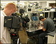 PBS crew films research in the MEMS Sensors and Actuators Lab