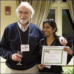ChBE graduate student Deepa Subramanian (right) with conference organizer Professor Gerald Pollack (University of Washington, Seattle).