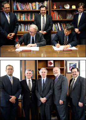 Top photo: Rector Bassi and President Loh sign the Memorandum of Understanding. (L-R) ISR Director Reza Ghodssi, University of Trento Rector Davide Bassi, ISR Director of External Relations Jeff Coriale, University of Maryland President Wallace Loh, University of Maryland Office of International Programs Associate Director Joseph Scholten.  Bottom photo: (L-R) Reza Ghodssi, University of Maryland Vice President for Research Patrick O'Shea, Rector Bassi, Maryland Secretary of State John McDonough, Jeff Coriale.