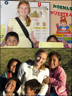 BioE Senior Kesshi Jordan has also put her engineering skills to use as a member of Engineers Without Borders, traveling with the University of Maryland chapter on an implementation trip to Compone, Peru in 2009. In addition to installing a water sanitation system with her team, Jordan ran an educational program for children to promote water sanitation and safety. Photos courtesy of Kesshi Jordan.