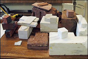 An assortment of stones and brick used in Smithsonian buildings, as well as masonry from the National Cathedral, the Arlington Cemetery Amphitheater, and the Jefferson Memorial, at the Smithsonian Institution's Museum Conservation Institute. The material will be used to make test samples with controlled properties. These will in turn be used to calibrate a new device capable of assessing buildings, monuments and artifacts in danger of deterioration from the effects of moisture. Photo courtesy of Emily Aloiz, Museum Conservation Institute.