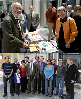 Above: Distinguished University Professor Emeritus Jan V. Sengers (left) cuts a cake with his wife, Dr. Johanna (Anneke) Levelt Sengers (Scientist Emerita, NIST). Below: Professor Sengers with colleagues, collaborators and friends from the joint Anisimov/Sengers research group. Left to right: Dr. Vincent Holten (postdoctoral research associate), Dr. Vakhtang Agayan (formerly advised by ChBE professor Mikhail Anisimov), Alec Agayan (son of Dr. Agayan and Dr. Abdulkadirova), Dr. Habsat Abdulkadirova (former postdoctoral research associate), Dr. Andrei Povodyrev (former postdoctoral research associate), Professor Jan Sengers, Professor Jose Ortiz de Zarate (Complutense University Madrid, collaborator of Sengers), ChBE Professor Mikhail Anisimov, ChBE graduate student Deepa Subramanian (advised by Anisimov), ChBE graduate student Daphne Fuentevilla (advised by Anisimov), ChBE undergraduate Elia Altabet (advised by Anisimov), and alumna Professor Jutta Luettmer-Strathmann (Ph.D. '94, physics, formerly advised by Sengers and now a member of the University of Akron faculty). Luettmer-Strathmann delivered one of the Burgers Symposium's lectures,