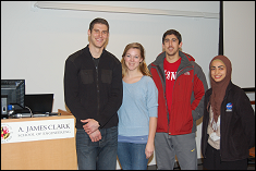Alumnus Sam Hollenbach '07  with Mechanical Engineering students