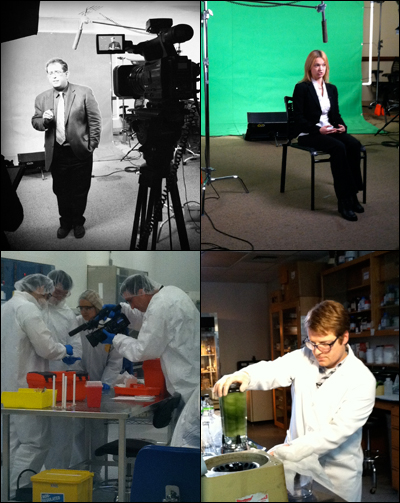 Clockwise from top left: Professor Reza Ghodssi, Postdoctoral Researcher Ekaterina A. Pomerantseva, Research Assistant Adam Brown, filming in the clean room environment of the Fab Lab.
