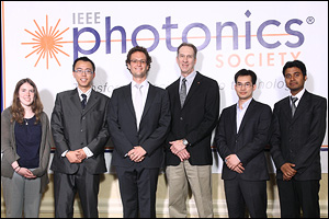 The winners of the IEEE Photonics' Student Paper Awards. Chao-Wei Chen (ECE), advised by BioE assistant professor Yu Chen, is second from the left. IEEE President James Coleman is third from the right.