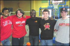 Omar Solaiman (BioE), Daniel Anderson (CompE), Malick Diarra (CompE), Matt Harrington (EE), and Patrick Clement (CivE) volunteered at Saturday's Rebound Rumble.